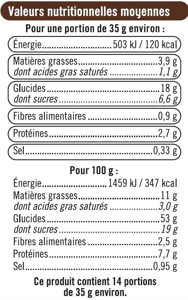 Brioche tranchée aux pépites de chocolat - Informations nutritionnelles