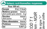 Boisson gazeuse à base d'eau minérale naturelle saveur agrumes - Informations nutritionnelles