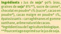 Boisson bio au soja saveur chocolat - Ingredients