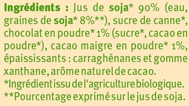 Boisson bio au soja saveur chocolat - Ingrediënten