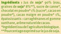 Boisson bio au soja saveur chocolat - Ingrédients - fr