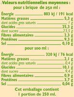 Boisson bio au soja saveur chocolat - Nutrition facts