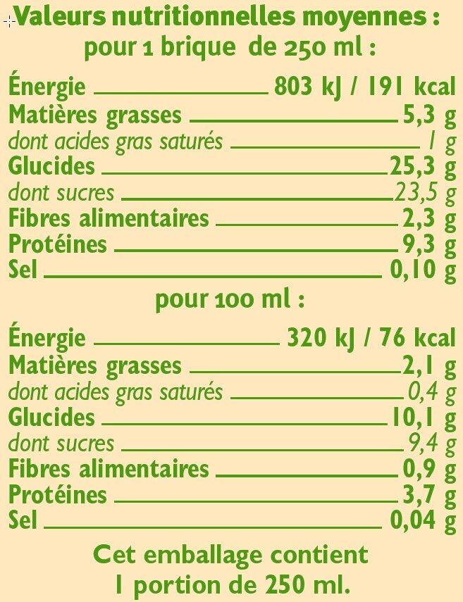 Boisson bio au soja saveur chocolat - Informations nutritionnelles - fr