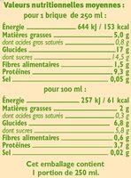 Boisson bio au soja saveur vanille - Nutrition facts