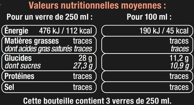 Cocktail sans alcool pêche - Nutrition facts - fr