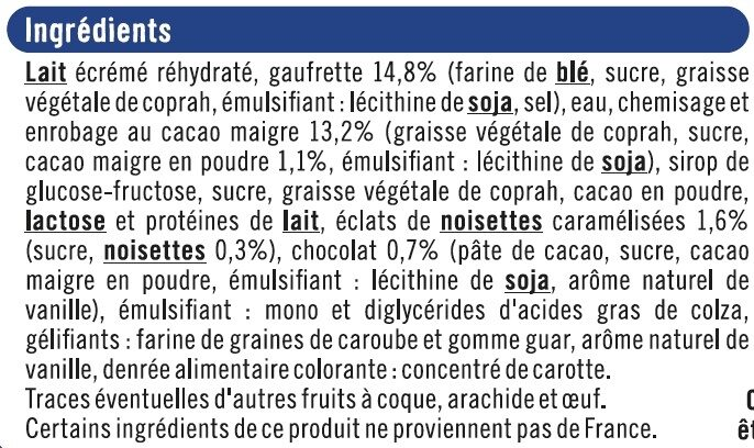 Cônes vanille chocolat - Ingrédients - fr