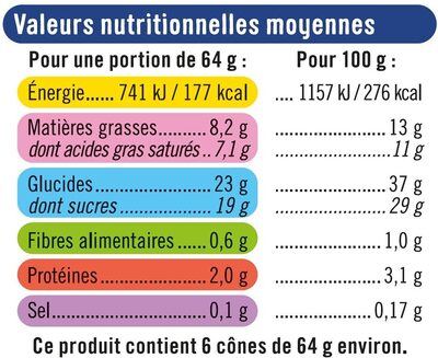 Cônes vanille chocolat - Informations nutritionnelles