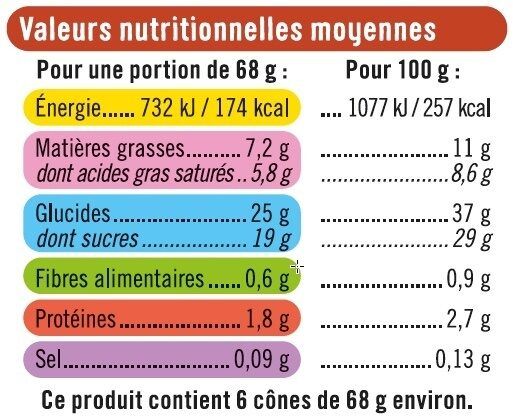 Cônes vanille pécan - Nutrition facts