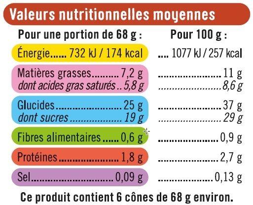 Cônes vanille pécan - Informations nutritionnelles - fr