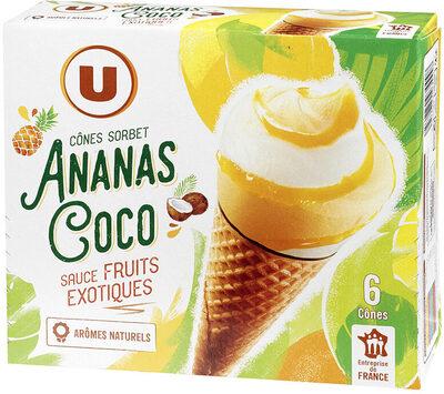 Cônes de sorbet noix de coco et ananas - Produit - fr