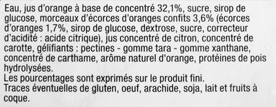 Sorbet Orange, aux écorces orange - Ingrédients