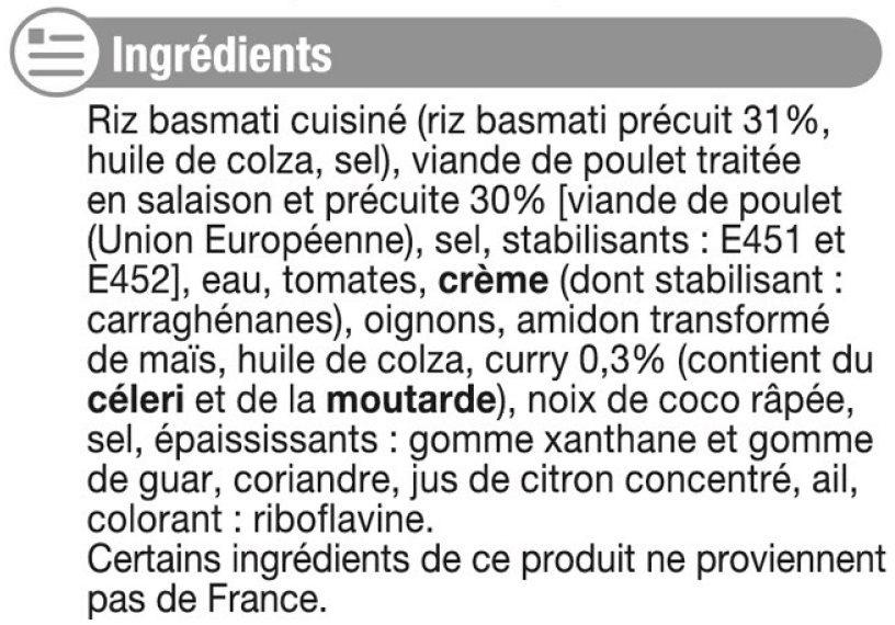 Emincé poulet au curry+riz basmati - Inhaltsstoffe - fr