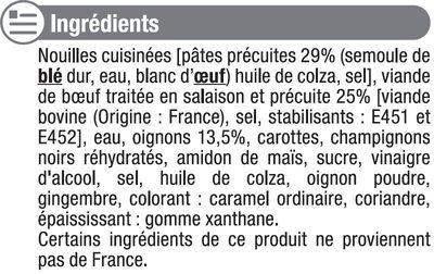 Boeuf aux oignons et nouilles - Inhaltsstoffe