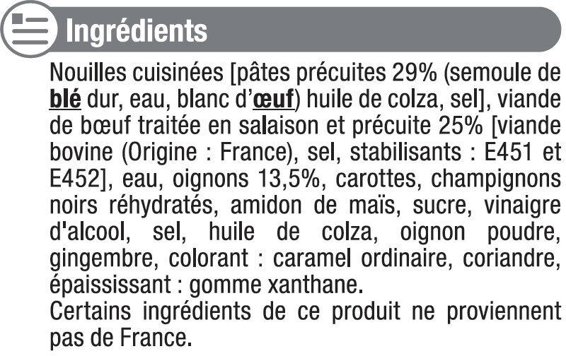 Boeuf aux oignons et nouilles - Ingrediënten - fr