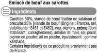Boeuf braisé aux carottes - Inhaltsstoffe - fr