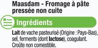 Fromage au lait pasteurisé Maasdam jeune 27% de MG - Ingredients - fr