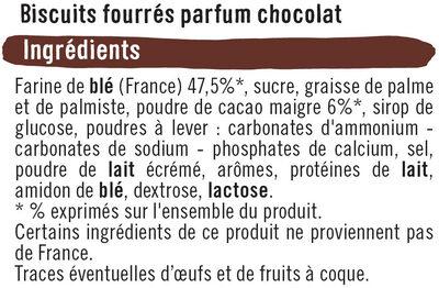 Mini biscuits fourrés ronds parfum chocolat - Ingrédients - fr