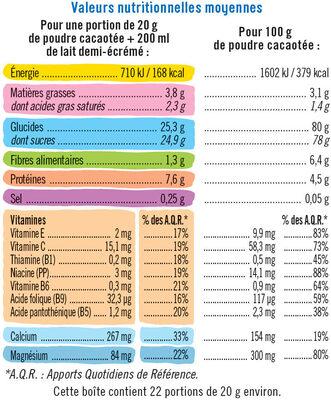 Chocolat en poudre petit déjeuner - Nutrition facts