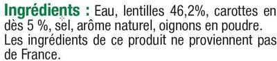 Lentilles préparées - Ingrédients
