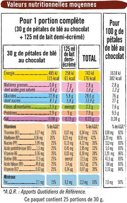 Céréales pétales de blé chocolat - Informations nutritionnelles - fr