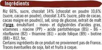 Riz soufflé enrobé de chocolat - Ingredients