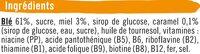Blé miel caramel - Ingrédients - fr