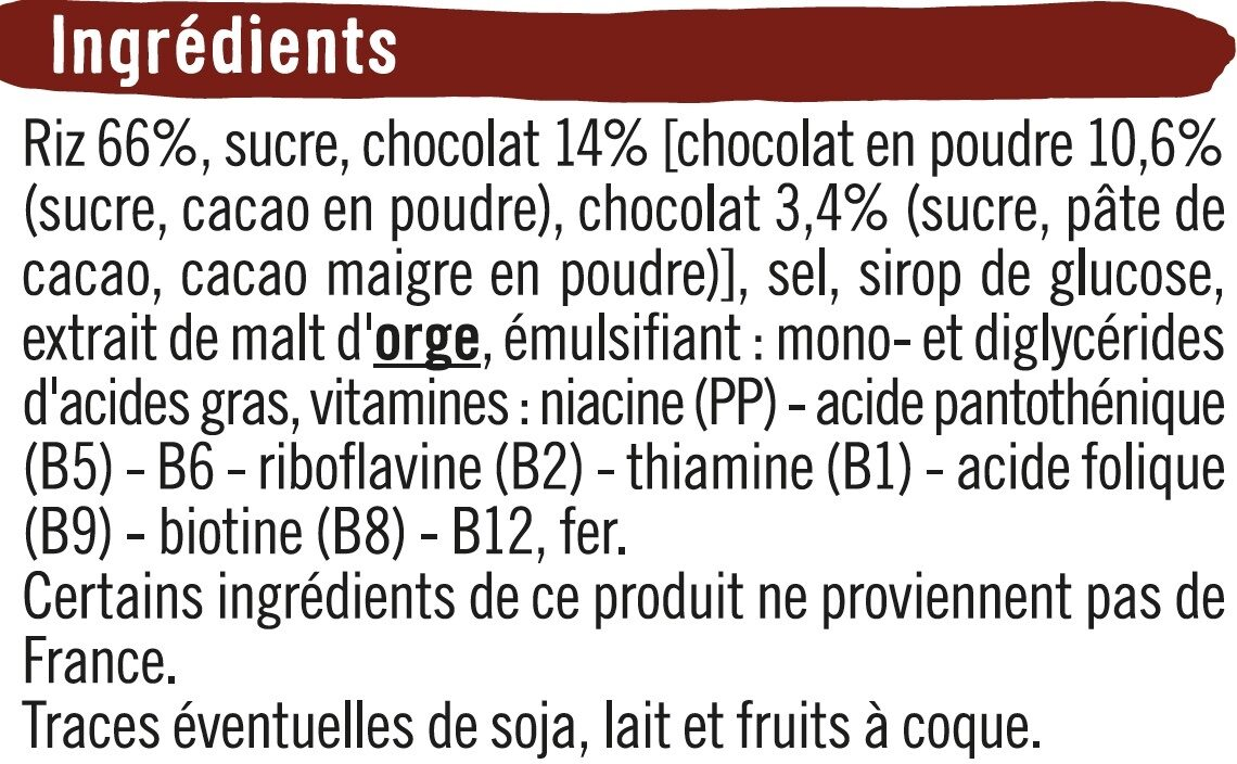 Riz soufflé enrobé de chocolat - Ingredients - fr