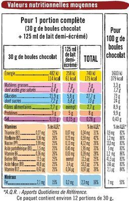 Boules de céréales goût chocolat - Nutrition facts - fr