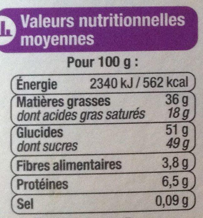 Assortiment lait, noir, blanc - 7 variétés - Nutrition facts