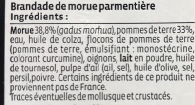 Brandade de morue parmentière - Ingrediënten