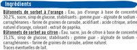 Bâtonnets glace à l'eau parfum orange & citron - Ingrédients - fr