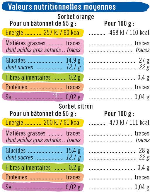 Bâtonnets glace à l'eau parfum orange & citron - Informations nutritionnelles - fr