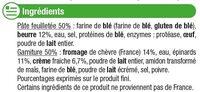 Paniers feuilletés au chèvre épinards - Ingrédients - fr