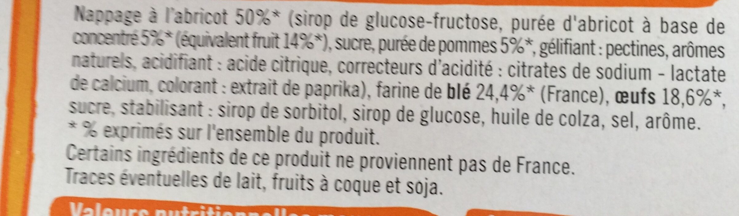 Barquettes Abricot - Ingredients - fr