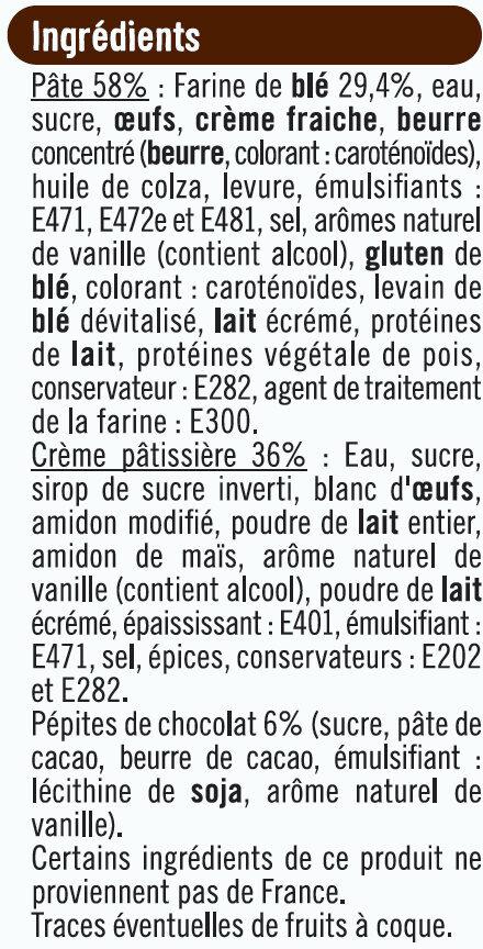 Tresse à la crème pâtissière et pépites de chocolat - Ingrédients - fr