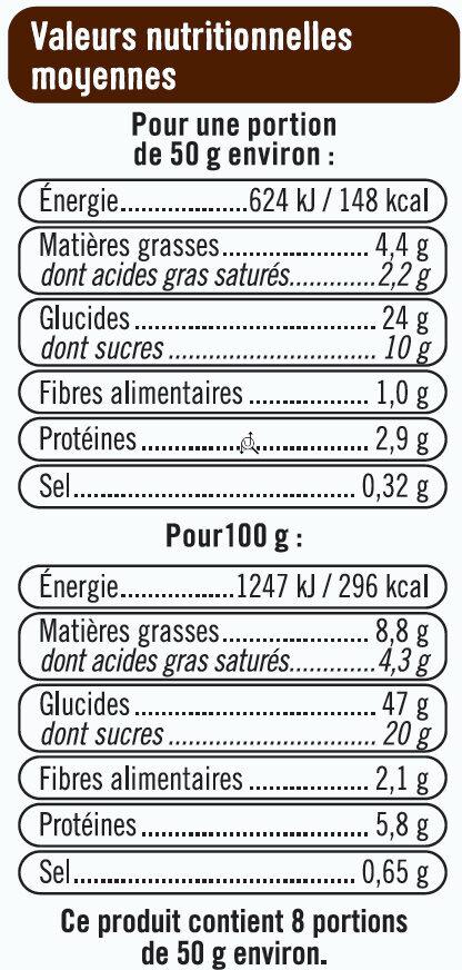 Tresse à la crème pâtissière et pépites de chocolat - Informations nutritionnelles - fr