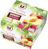 Coupelle dessert de fruits pomme,pêche et pomme, framboise - Product