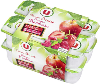 Coupelle dessert de fruits pommes, fraise et + pommes, framboise - Produit