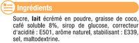 Préparation instantanée pour boisson au café et aromatisée à la vanille - Ingrédients - fr
