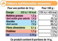 Préparation instantanée pour boisson au café et aromatisée à la vanille - Informations nutritionnelles - fr