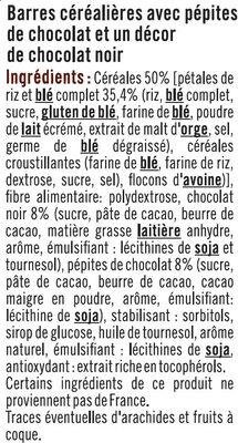 Barre de céréales riz et blé complet chocolat noir - Ingrediënten
