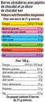 Barre de céréales riz et blé complet chocolat noir - Voedingswaarden - fr