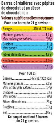 Barre de céréales riz et blé complet chocolat noir - Voedingswaarden