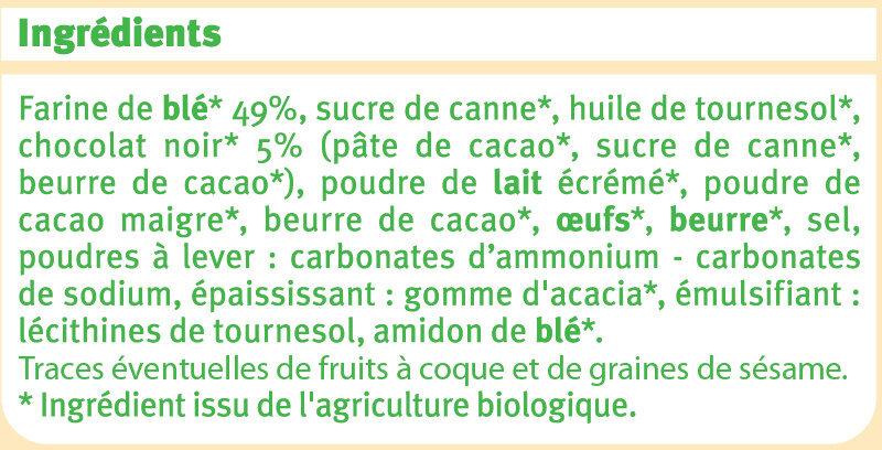 Goûters fourrés au chocolat noir - Ingredients - fr