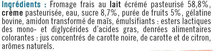 Mousse de fromage frais sucré fruits au lait pasteurisé  7% de mg - Ingredients