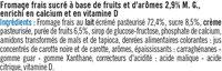 Fromage frais lait pasteurisé sucré aux fruits 2,9%MG - Ingredients