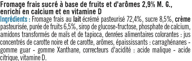 Fromage frais lait pasteurisé sucré aux fruits 2,9%MG - Ingrediënten