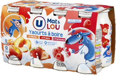 Yaourt à boire sucré pulpe fruits fraise-pêche-framboise - Produit