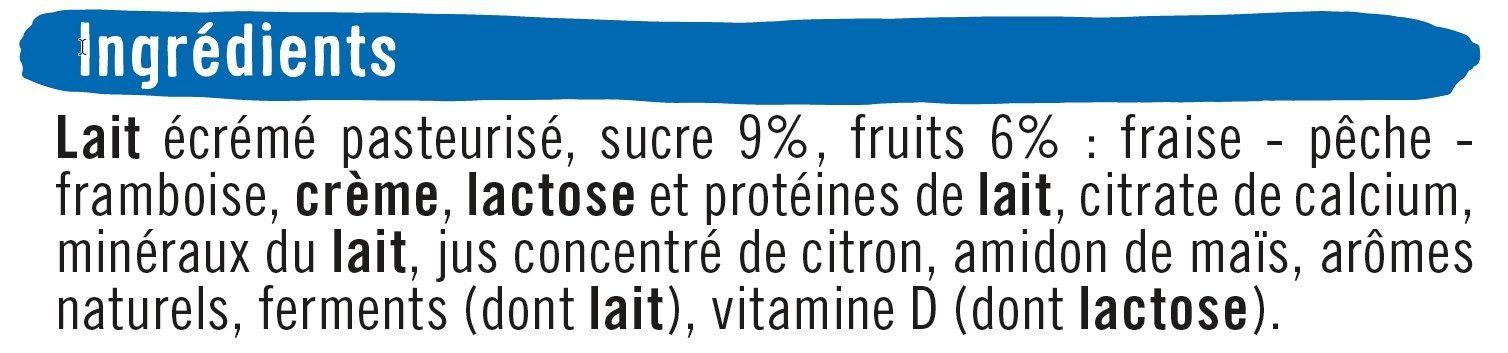 Yaourt à boire sucré pulpe fruits fraise-pêche-framboise - Ingrédients