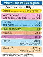 Yaourt à boire sucré pulpe fruits fraise-pêche-framboise - Informations nutritionnelles